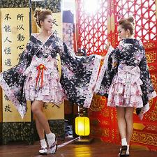 Women's Japanese Kimono Cosplay Lolita Anime Maid Uniform Outfit Costume Dress