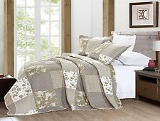 2pc Vintage Floral Patchwork Quilted Bedspread Throw Comforter Size 170 x 230 cm