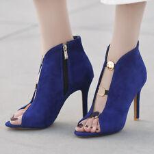 Women Gladiator Sandals Open Toe Suede Stiletto High Heels Zip Party Pumps Shoes