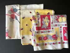 vintage textiles 3 table runners, floral and kitchen motif Lot