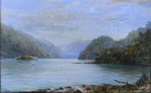 W.G (William George) Baker Watercolour, New Zealand scene, George Sound