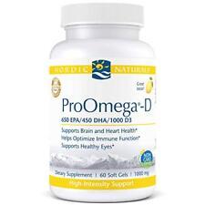 Nordic Naturals ProOmega-D - Fish Oil, 650 EPA/450 DHA/ 1000 D3, 60 Soft Gels