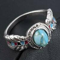 Chic 925 Silver Boho Turquoise Gemstone Ring Men Women Party Bohemian Jewelry