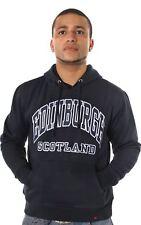 Mens Hoodie Top Edinburgh Scotland Black Size Large