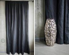 Black linen curtain modern drapery panel fabric window treatment linen decor