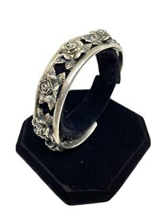 AS IS 800 Silver Peruzzi Florence cuff bracelet with roses
