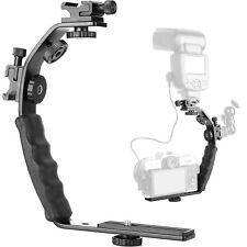 "Camera L Bracket Mount Video Grip L-Bracket With Dual Flash Cold Shoe Mount 1/4"""