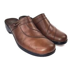 Clarks Womens Brown Leather Clogs Mule Shoes 9.5m 80656