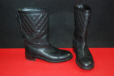 Auth CHANEL Black Quilted CC Logo Mid-Calf Motorcycle Biker Boots sz 41.5 US_9.5