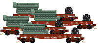 Micro-Trains MTL Z-Scale 40ft Flat Cars/Load Union Pacific/UP - Runner 4-Pack