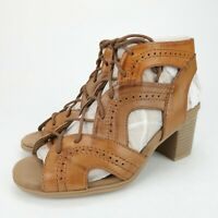 Rockport Cobb Hill Hattie Open Lace Up Tan Leather Heeled Sandals Size 6 M