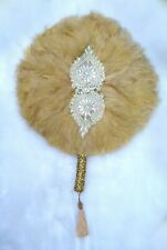 PrestigeApplause Champagne Gold Round Shape New Style Feather Bridal Handfan