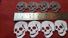 8 Felt die cut white Grey skull applique toppers Childrens craft sewing card