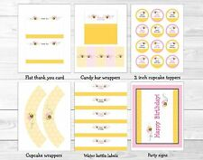 Pink Bumble Bee Printable Birthday Party Package