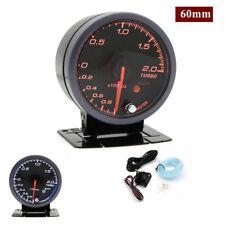Black Shell 60mm Car Boost Gauge 12V (-1~2 Bar) Turbo Boost Meter Gauge - New