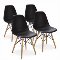 Set Of 4 Dining Room Chair Mid Century Modern Style Chair Wood Legs Plastic Seat