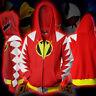 Adult TV Show Mighty Morphin Power Rangers Costume Hooded Zip Sweatshirt Coat