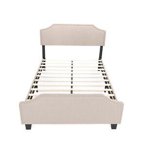 Full Size Linen Platform Bed, Curved Shape Headboard Wood Slat Support, Khaki