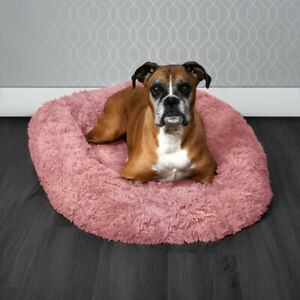 Pawamore Pink Soft Pet Calming Anxiety Donut Cushion Warm Nest Cat Dog Bed - XL