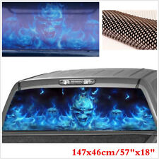 "57""x18"" Car Rear Window Flame Flaming Skull Sticker Graphic For SUV Pickup Jeep"