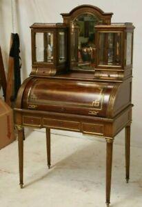 Antique French  Bonheur du Jour Ladies Writing Desk Cylinder 1800s Brass Gallery