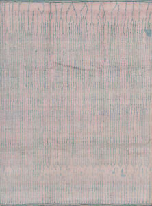 Moroccan Beni Ourain Rug, 9'x12', Pink/Blue, Hand-Knotted Wool Pile