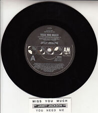 "JANET JACKSON  Miss You Much 7"" 45 rpm vinyl record + juke box title strip"