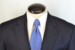 Jos A Bank Gordon Signature Gold Navy Blue Pinstriped 100% Wool Suit Sz 41R