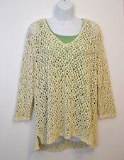 J Jill Sweater Top XL Yellow White Open Stitch Layering MayFit 1X 2X Beach Cover
