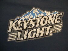 Keystone Light Beer Drinks Alcohol Distressed Navy Blue Cotton T Shirt Size XL