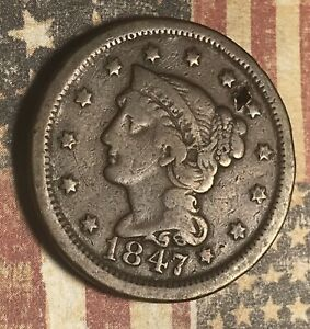 1847 LARGE CENT COPPER COLLECTOR COIN FOR COLLECTION. FREE SHIPPING.