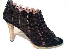 LUXURY REBEL Sz9.5w 40 black leather sued charley open toe platform booties 4inc