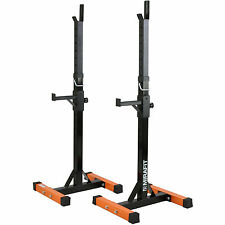 Mirafit 2pc Adjustable Barbell Squat Rack Spotter Stands/Weight Gym Bench Power