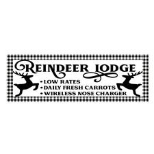 Buffalo Check Reindeer Lodge Wood Print Sign