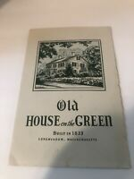 vintage restaurant menu Old House On The Green Built 1833 Massachusetts 1940's