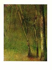 """1968 Vintage SEURAT """"IN THE WOODS AT PONTAUBERT"""" COLOR offset Lithograph"""