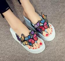 Chic Women Slippers White Wedge Flip Flop Casual Sandals Butterfly Plus Size