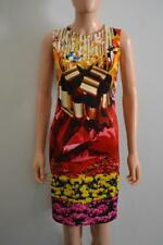 Mary Katrantzou Red Multicolored Floral Print Stretch Knit Sleeveless Dress, M