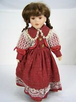 """Porcelain Doll Brown Hair Red Dress with Stand 16"""" Tall Lace Braids Pigtails"""