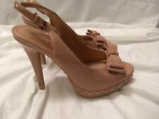 "Lauren Conrad Nude Patent Leather Slingback Peep Toe 4.75"" High Heels Size 8M"