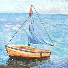 4 single paper decoupage napkins. Seaside, water, ocean, yacht design -238
