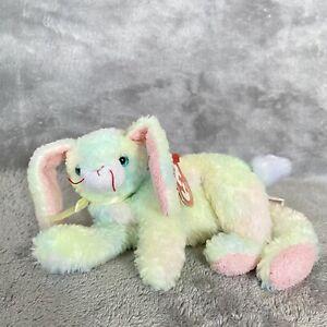 "Ty Beanie Baby 8"" Cottonball Bunny Rabbit Green Pastel Bean Plush Stuffed Animal"