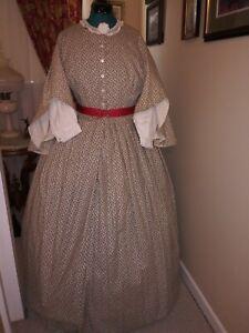 Civil War Reenactment Drop Sleeve Fancy Day Dress Size 22 Black on Cream