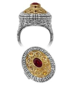 Philip Andre 18k Gold & Sterling Silver Garnet and Citrine Ring size 7.5