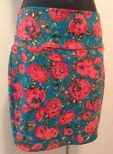 Love Culture Juniors Blue Floral Print Sz Medium Mini Pencil Skirt I3