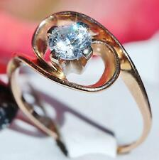 Handmade 14k 585 rose gold 0.50ct white sapphire size 6.25 swirl ring 2.6gr
