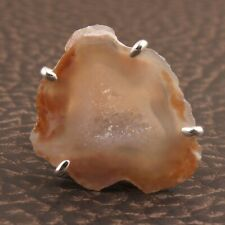 Setting Silver Plated Adjustable Rings Natural Light Orange Geode Druzy Prong