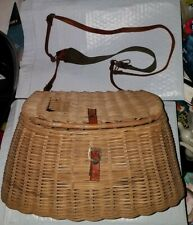 Antique Fishing Anglers Wicker Creel Basket Shoulder Strap Fly Rod Free Ship