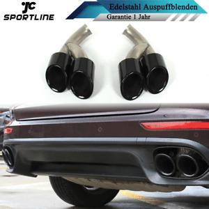 2x Auspuffblenden Edelstahl Endrohre Tipps 4-Rohr für Porsche Cayenne 958 15-17