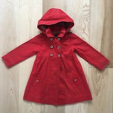 GAP Baby Gap Girls Trench Coat Mac Red Hooded Thick Cotton, EUC Size 5 years